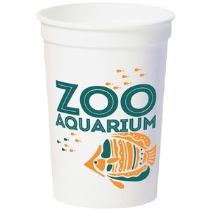 12 Oz. Smooth White Stadium Cup (2 Color Offset Printed)