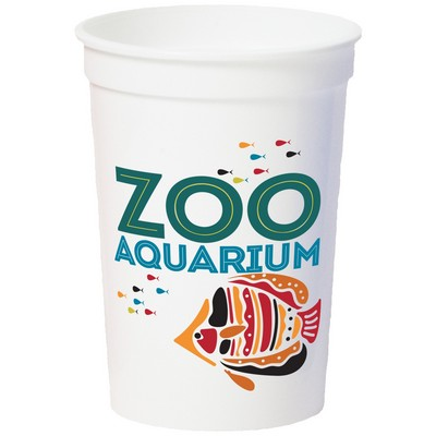 12 Oz. Smooth White Stadium Cup (7 Color Offset Printed)