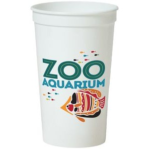 22 Oz. Smooth White Stadium Cup (7 Color Offset Printed)