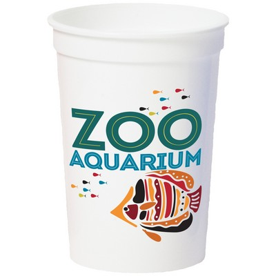 12 Oz. Smooth White Stadium Cup (8 Color Offset Printed)